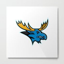 Bull Moose Head Mascot Metal Print