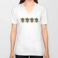 turtles V-neck T-shirts featuring Screaming Turtles by That Design Bastard