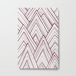 Stripe Mountains - Maroon Metal Print