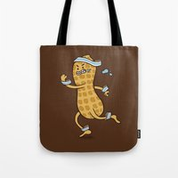health Tote Bags featuring Health Nut by Jelly Soup Studios
