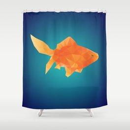 Polygonal Gold Fish Shower Curtain