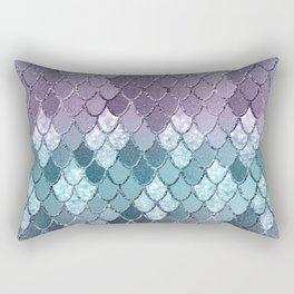 Mermaid Scales Navy Blue Teal Purple Glam #1 #shiny #decor #art #society6 Rectangular Pillow