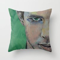 street fighter Throw Pillows featuring Fighter by Michael Creese