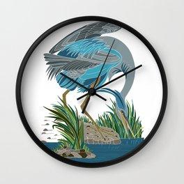 Great heron illustration/ wall art/ minimalism/ oriental folk art Wall Clock