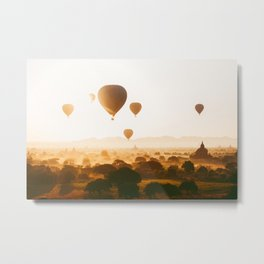 Hot-Air Balloons Flying Over Bagan Pagodas in Myanmar (Burma) Metal Print