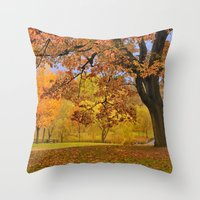 wes anderson Throw Pillows featuring Fall at Larz Anderson by LudaNayvelt