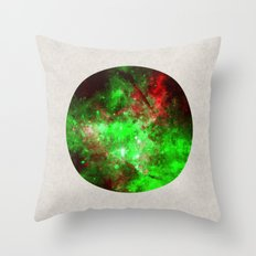 Neon World - Abstract Space Painting in neon red and green Throw Pillow