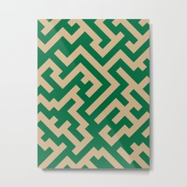 Tan Brown and Cadmium Green Diagonal Labyrinth Metal Print