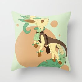 Leaf Steampunk Fox Throw Pillow