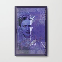 Frida Kahlo - between worlds - blurple Metal Print