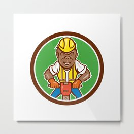 Gorilla Construction Jackhammer Circle Cartoon Metal Print