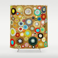 contemporary Shower Curtains featuring Contemporary Circles by Ruth Fitta Schulz