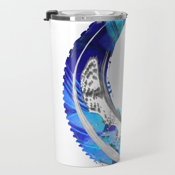 White And Blue Abstract Art - Swirling 4 - Sharon Cummings Travel Mug