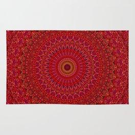 Red Lace Ornament Mandala Rug