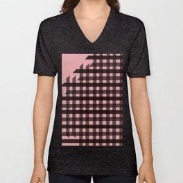 Gingham: Pink Unisex V-Neck