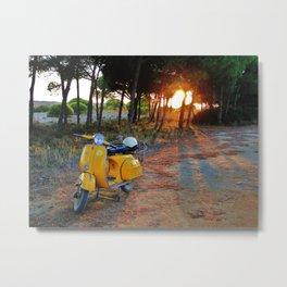 Yellow Vespa Metal Print