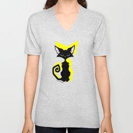 Black Cat - Lemon Yellow Unisex V-Neck