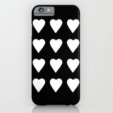 16 Hearts White on Black iPhone 6s Slim Case