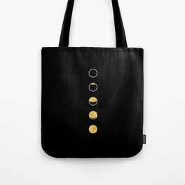 Moon Phase Wall Tapestry, Lunar Cycle, Black and Gold, Black and White, Gold Circles, Geometric Tote Bag
