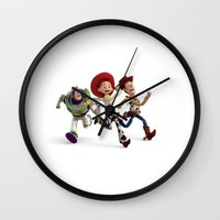 toy story Wall Clocks featuring Toy Story by Max Jones