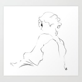graphic sketch of a woman Art Print
