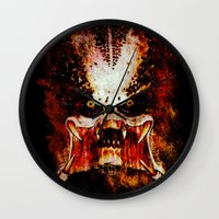 predator Wall Clocks featuring Predator by Sirenphotos