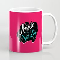 anxiety Mugs featuring Anxiety Variety by Chris Piascik