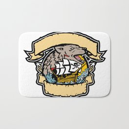 Angry Wolf Pirate Ship Banner Retro Bath Mat