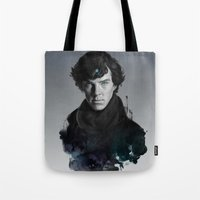 artgerm Tote Bags featuring The Excellent Mind by Artgerm™