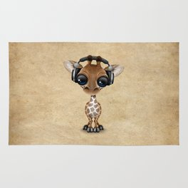 Cute Baby Giraffe Dj Wearing Headphones Rug