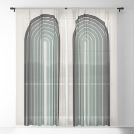 Gradient Arch - Green Tones Sheer Curtain