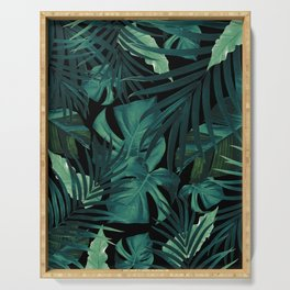 Tropical Jungle Night Leaves Pattern #1 #tropical #decor #art #society6 Serving Tray