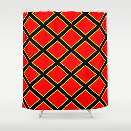 red cross-abstraction,abstract,geometric,geometrical,pattern,cross,order Shower Curtain