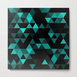 Chic Colors Funky Retro Polygon Triangles Mosaic Pattern Metal Print