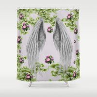 angel wings Shower Curtains featuring angel wings by karens designs