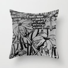 Black and White Palm Flowers by my Mom Throw Pillow