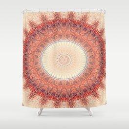 Flattened Sun Wheel Mandala Shower Curtain