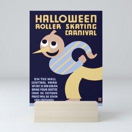Halloween Roller Skating Carnival Poster, NYC, 1936 Mini Art Print