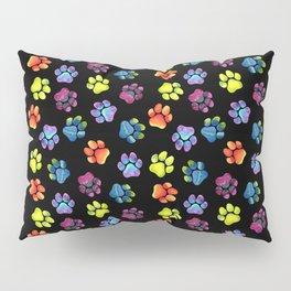 Black Rainbow Paw Print Pattern Pillow Sham