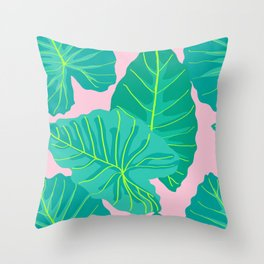 Giant Elephant Ear Leaves in Light Pink Throw Pillow