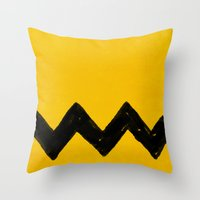 charlie brown Throw Pillows featuring Charlie Brown by Aaron Lockwood
