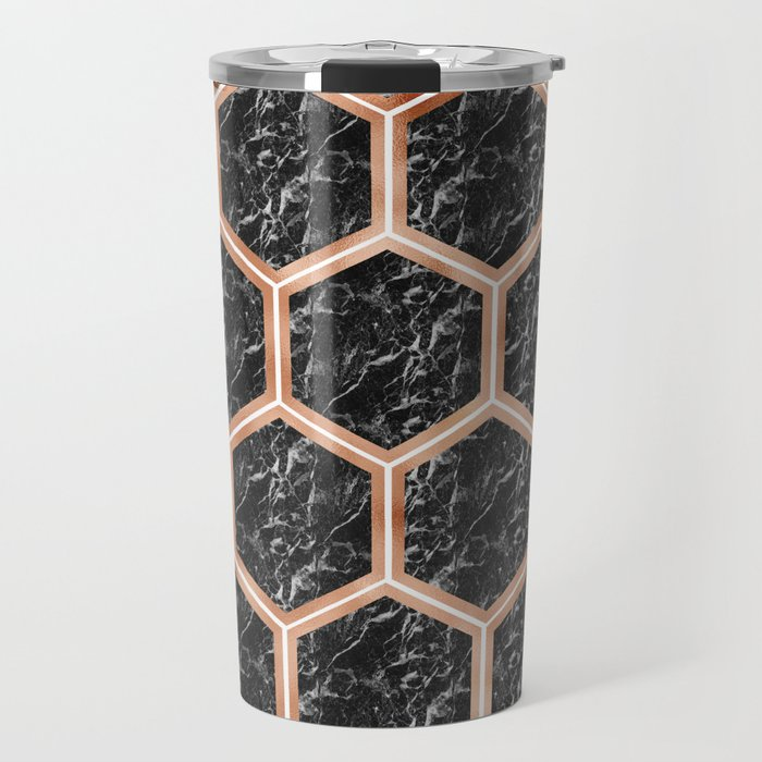 Black campari marble & copper honeycomb Travel Mug