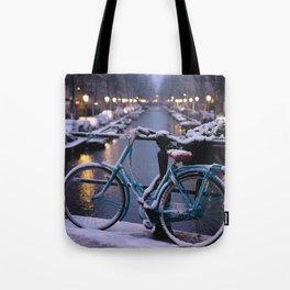 Amsterdam Bike in the Snow Tote Bag
