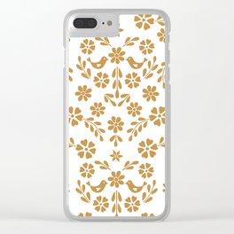 Golden floral symmetric birds heart Clear iPhone Case