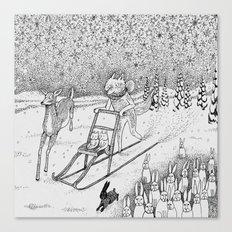 Kick-sledding Fox Canvas Print