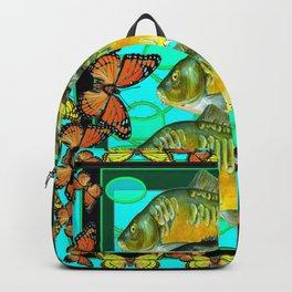 MONARCH BUTTERFLIES OCHER  FISH TURQUOISE BLUE ART Backpack