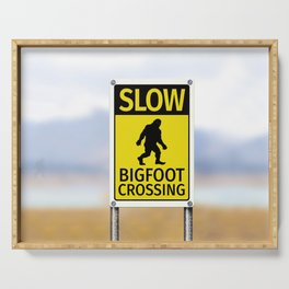 Bigfoot Crossing Sign Serving Tray