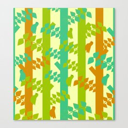 Birds and tree trunks Canvas Print