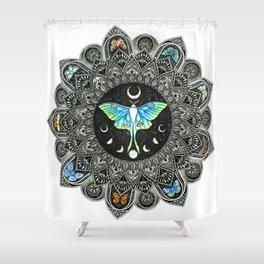 Lunar Moth Mandala Shower Curtain
