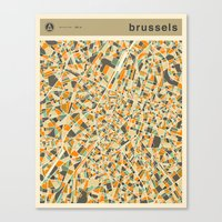 brussels Canvas Prints featuring BRUSSELS MAP by Jazzberry Blue